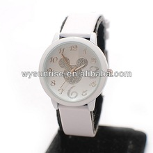 white color promotion leather ladies mickey mouse watch