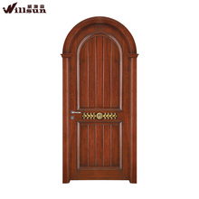 European style durable arch design Walnut wood door with carving gold lacquer decorative