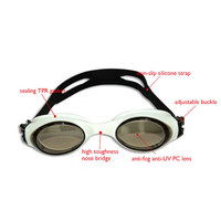 Black fashionable silicone swim goggles anti-fog,good price swimming goggles with safety material 2016