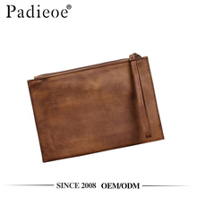 Padieoe PDA535-E retro style brown veg-tanned leather hand clutch bag
