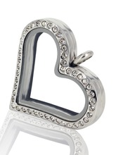 2016 Clear Sterling Glass Love Wholesale Stainless Steel Magnetic Floating Heart Locket Necklace