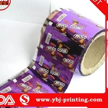 ybj guangzhou manufacture colorful printing opaque mini chocolate packaging roll plastic film