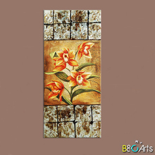 Flower pattern decorative fabric painting designs custom canvas prints for coffee shop decoration
