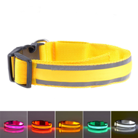Pet Dog Accessories Nylon LED Light-up Flashing Necklace Glowing Electronic Dog Collar