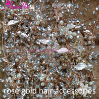New Hot 2017 Bride Popular Color Rose Gold Clear Rhinestone Hair Vine Headband Accessories