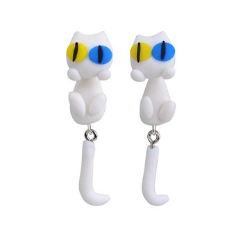 AP38088 Fashion Cute 3D Polymer Clay Cartoon Animal Cat Double Color Eyes Stud Earrings for Women Girls