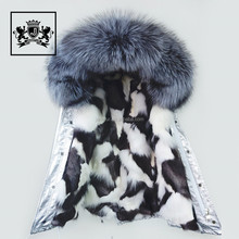 Manufacturer's direct selling trend Italian style jacket coat fox fur coat of large raccoon fur collar fur coat.