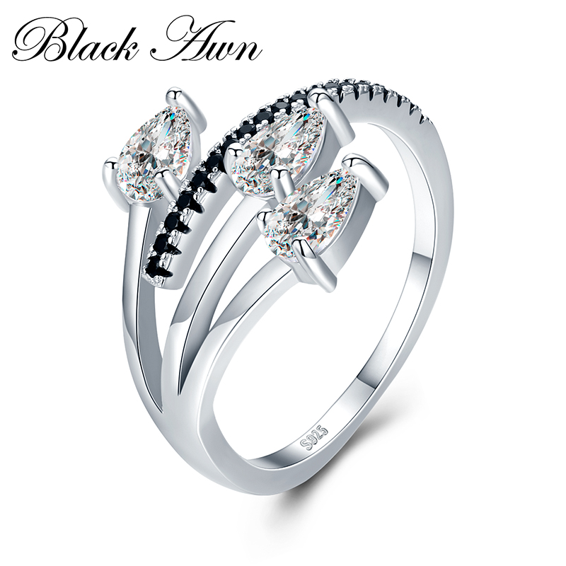 [BLACK AWN] Vintage 3.4g 925 Sterling Silver Fine Jewelry Bague Row Black Spinel Wedding Rings for Women G006