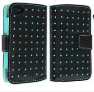 Dot Flip PU Leather Card Holder Wallet Case Skin Cover Pouch For iPhone 4 4S