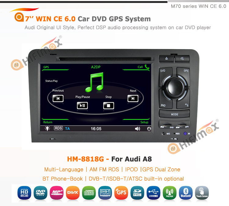 HIFIMAX 7 inch Car DVD GPS For Audi S8 Navigation Head unit - Bluetooth RDS IPOD HD 1080P Video Playback