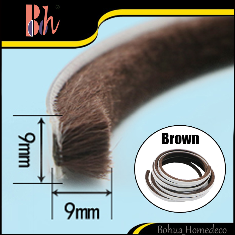 Brown Self Adhesive Mohair Sealing Brush Strip Home Door Window Frame Seal Protect Draught Excluder Weatherstripping Pile 9x9mm