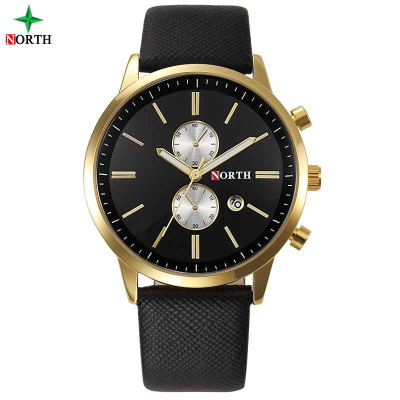 NORTH Genuine Leather Band Japan Movement Men Clock Fashion Casual