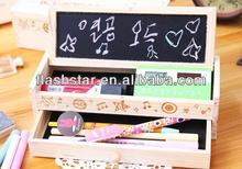 new design fashion hot selling wooden pencil cases for student with blackboard