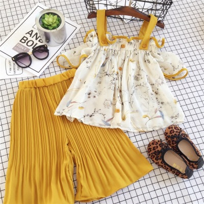 2-7 years Wholesale New 2017 Summer Cotton Girls Sets Off-shoulder Blouses & Wide Leg Pants 2 PCs Set Kids Clothes