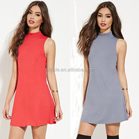 Online Shopping Latest Fashion Ladies Dress Sleeveless High Neck Plain Blank Short Sexy Cotton Mini Party Dress For Girls