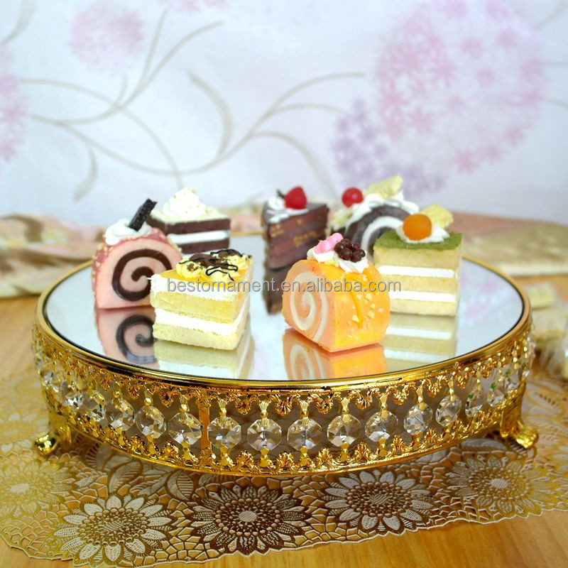 Gold plated new style crystal chain mirror cake stand/fruit plate