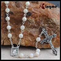 Holy 6mm Lady Lourdes Pearl Rosary, Virgin Mary Rosary Necklace