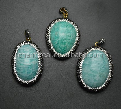 CZ-P0242 Natural 30~40mm Amazonite Cabochon Stone Pendant Paved Black Crystal beads around Fashion jewelry making materials