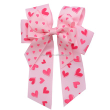 Double Stacked charming bow Hearts Printed Valentine hair bow with Clip