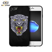 Fashion tiger embroidary shockproof mobile phone case for iphone 7