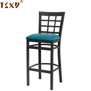 Cheap black iron vinyl seat restaurant chair