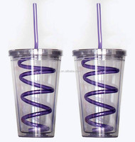 Insulated Plastic Drink Cup Glass w Lid Curly Crazy Straw Sports Travel Tumbler