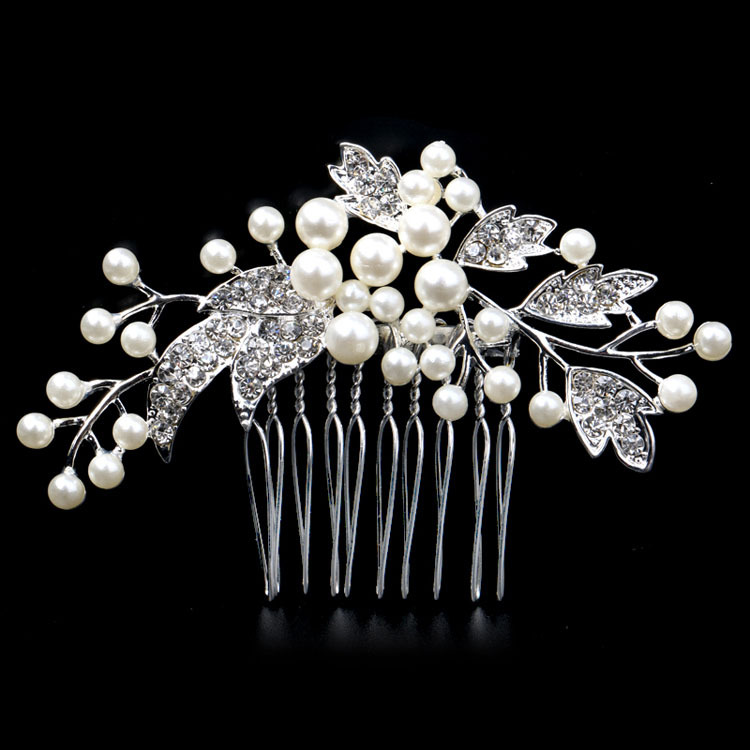 High quality imitation pearl crystal hair combs Bridal Hair Combs Flowers Hairpin Tiara hair jewelry for wedding Jewelry