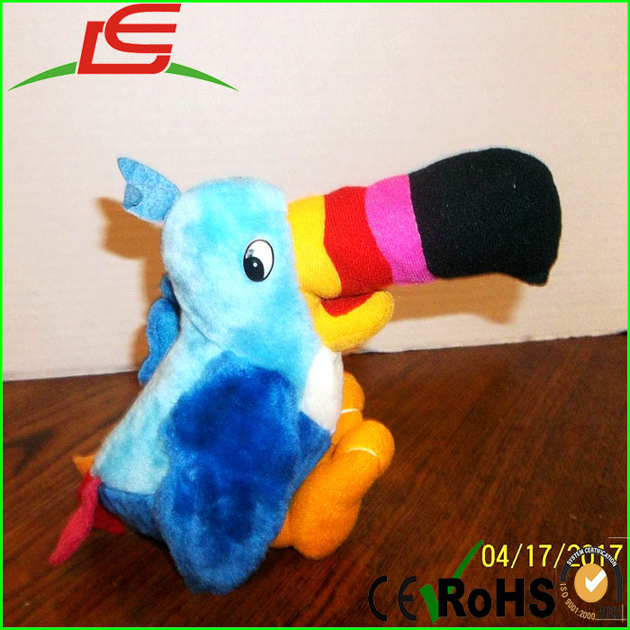 Colorful Big Mouth Blue Toucan Sam Stuffed Plush Bird