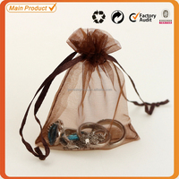 7x9cm Brown/Coffee Drawstring Christmas Candy Packaging Organza Bags
