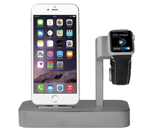 2 in 1 Charging Dock For Apple Watch Stand Solid Aluminum Charging Station For iPhone7/6/6S