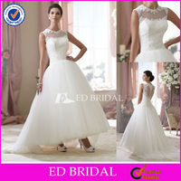 XL115 New Design Bateau Neckline Ankle Length Lace Ball Gown Wedding Dress 2013