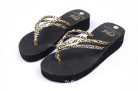 Fashion PU strap high heel EVA sandal flip flops