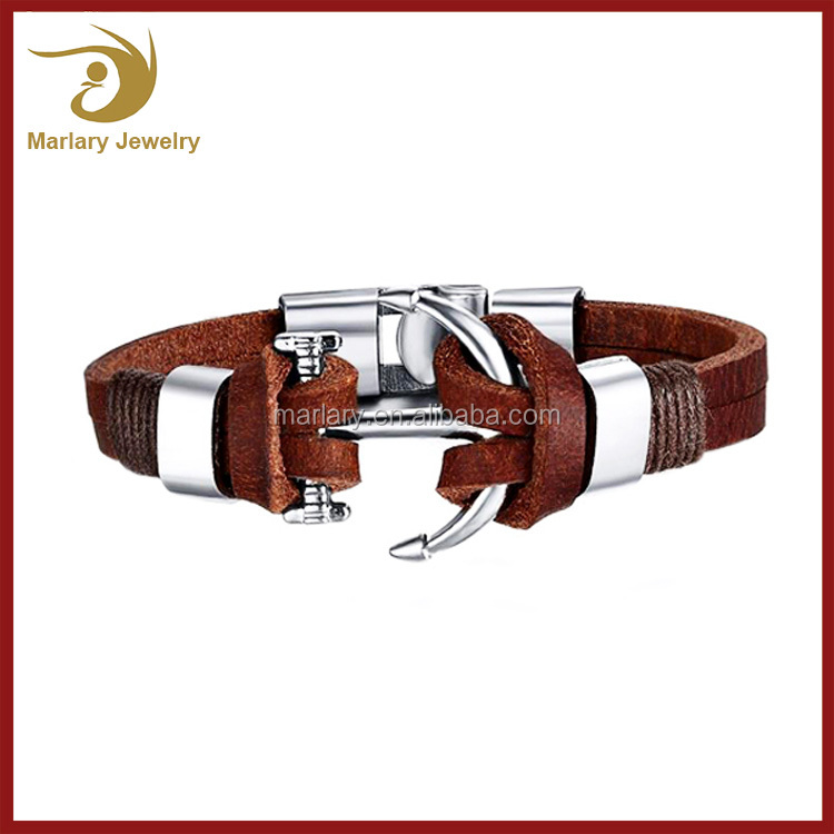Top Quality Stainless Steel Leather Viking Bracelet Men Anchor Bracelet