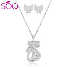 Fox Stud Earrings & Necklace Jewelry Set Rose Gold Plated Women