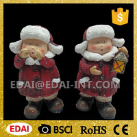 Cute polystone standing boy and girl decoration holding lantern