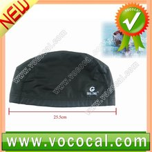 Adults Black Stretch Swimming Hat Dome Shape Swim Cap