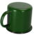 Custom matte green enamel mug for stylish Cafe with logo print