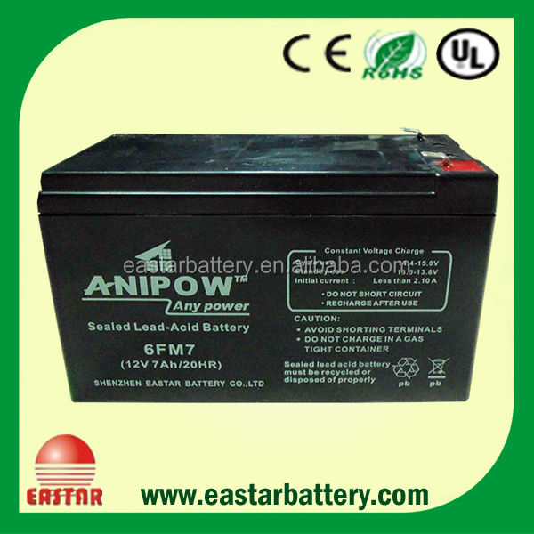sealed lead acid 6fm7 12v 7ah 20hr battery