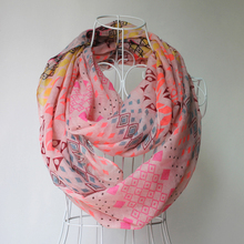 Fashion scarf 2017 geometric patterns magic arabic lady loop scarf with custom print