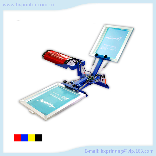 HS-21DGH factory supply 2 color manual screen printing machine for textile with dryer