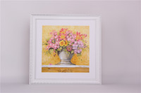 Graceful Light Yellow Background White Frame Flower Canvas Painting