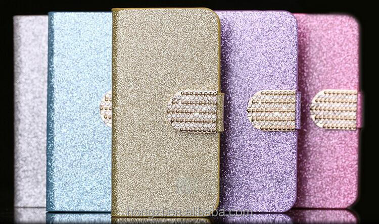 The Newest Luxury Glitter Crystal Diamond pu leather Flip case cover with card Wallet For iPhone 5 6 7