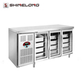 R256 1.8m 3 Glass Doors Luxurious Fancooling Tray Undercounter Refrigerator