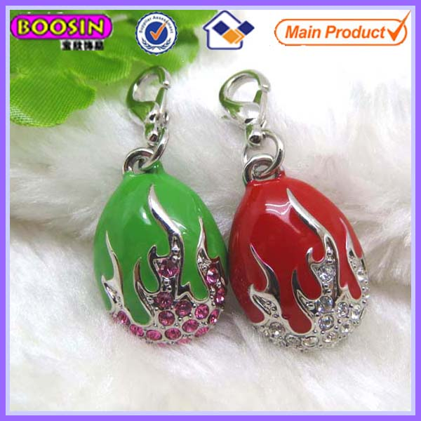 Novel 3D Enamel Metal Faberge Egg Charm With Crystal #17308