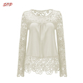 Fashion ladies casual lace long shirts pictures
