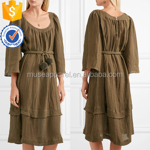 Three Quarter Length Sleeve Brown Linen-Blend Midi Summer Dress With Belt OEM/ODM Women Apparel Clothing Garment Wholesaler