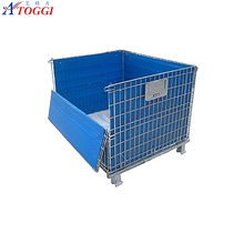 stackable wire mesh cage box metal bin storage container with wheels