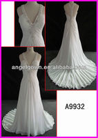 One-piece, zipper closure.and deep V-neckline A9932 slim line wedding gown with bridal dress