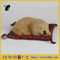 Wholesale stuffed breathing sleeping fur real animal toy dogs