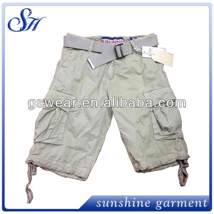 mens 100% cotton twill cargo shorts with belts